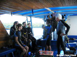 Breafing on the dive boat of SeaGarden Dive Center