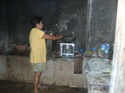 Kitchen in a cheap homestay